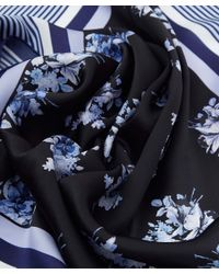 Paul Smith - Blue Floral And Stripe Silk Scarf - Lyst