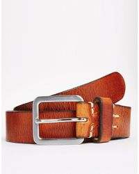 Jack & Jones | Brown Stitch Leather Belt for Men | Lyst
