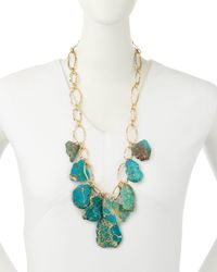 Panacea | Blue Hammered Golden Statement Necklace | Lyst