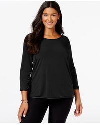 Calvin Klein | Black Plus Size Faux-leather-piped Silky Top | Lyst