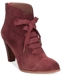Adrienne Vittadini | Red Tino Lace-up Booties | Lyst