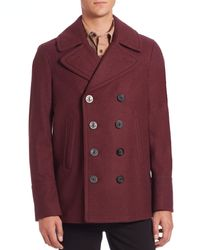 Burberry | Red Eckford Wool & Cashmere Peacoat for Men | Lyst