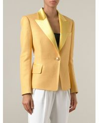Balmain   Yellow Satin Lapel Blazer   Lyst