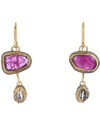 Judy Geib - Purple Women's Ruby & Herkimer Diamond Double-drop Earrings - Lyst