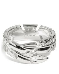 COACH - Metallic Sterling Feather Wrap Ring - Lyst