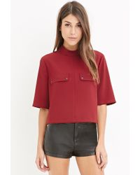 Forever 21   Purple Contemporary Mock-neck Pocket Top   Lyst