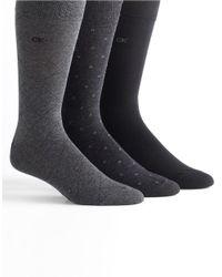 Calvin Klein | Gray Three-pack Dress Socks for Men | Lyst