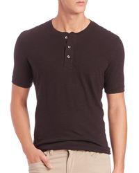 VINCE | Black Short-sleeve Cotton Henley for Men | Lyst