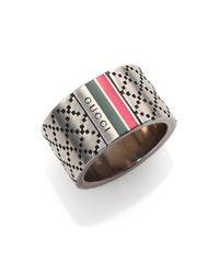 Gucci | Metallic Diamante Pattern Ring for Men | Lyst