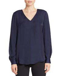 424 Fifth | Blue Washer Satin Tuck-sleeve Blouse | Lyst