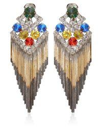 Iosselliani - Multicolor Multicolour Gem Fringed Clipon Earrings - Lyst
