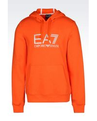 EA7 - Orange Hooded Sweatshirt for Men - Lyst