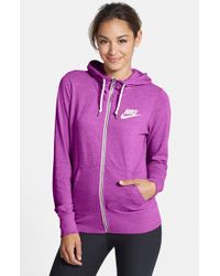 Nike - Purple 'Gym Vintage' Zip Front Hoodie - Lyst