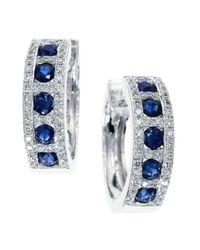 Effy | Blue Royale Bleu Sapphire, Diamond And 14k White Gold Hoop Earrings | Lyst