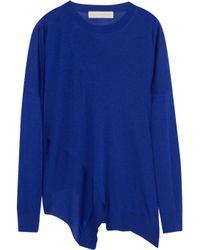 Stella McCartney - Blue Asymmetric Wool And Silk-blend Sweater - Lyst