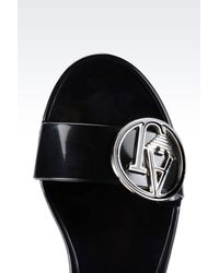 Armani Jeans - Black Rubber Sandal With Logo - Lyst