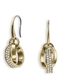 Michael Kors - Metallic Pave Link Charm Earrings - Lyst
