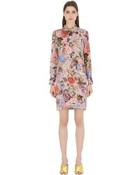 Gucci | Pink Printed Silk Georgette Shirt Dress | Lyst