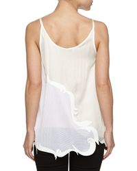 Stella McCartney - Natural Sleeveless Silk Perforated Top - Lyst