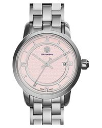Tory Burch | Metallic 'tory' Small Round Bracelet Watch | Lyst
