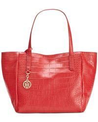 Tommy Hilfiger | Red Claire Croco Leather Small Tote | Lyst