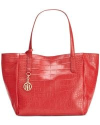 Tommy Hilfiger - Red Claire Croco Leather Small Tote - Lyst