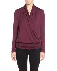 Amour Vert - Purple 'angela' Long Sleeve Wrap Front Top - Lyst