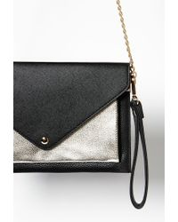 Forever 21 | Black Colorblocked Faux Leather Envelope Crossbody You've Been Added To The Waitlist | Lyst