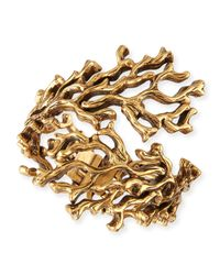 Oscar de la Renta | Metallic Golden Coral Branch Bracelet | Lyst