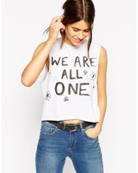 ASOS - White Cropped Tank With We Are One Print - Lyst