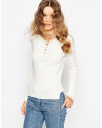 ASOS - White Top In Rib Knit With Lace Up - Lyst