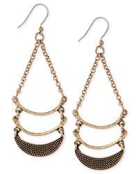 Lucky Brand | Metallic Gold-tone Triple Moon Drop Earrings | Lyst