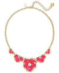 kate spade new york | Red 12k Gold-plated Geranium Crystal Bouquet Frontal Necklace | Lyst