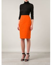 Givenchy | Orange Floral Jacquard Pencil Skirt | Lyst