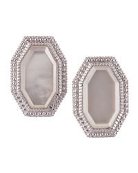 Judith Ripka - White Modern Deco Mother-of-pearl Earrings - Lyst