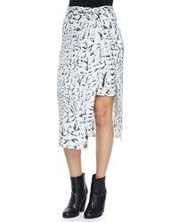 Helmut Lang - Black Strata-print Asymmetric Wrap Midi Skirt - Lyst