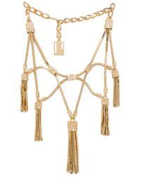 Lanvin - Metallic Plastron Multi Tassel Necklace - Lyst