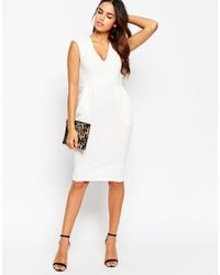 ASOS | White Petite Sleeveless Textured Wiggle Dress | Lyst