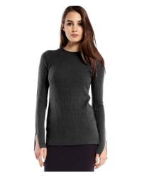 Michael Stars | Gray Cashmere Blend Ribbed Crew Neck Sweater | Lyst