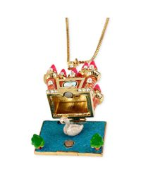 Betsey Johnson - Metallic Antique Goldtone Castle with Hidden Swan Charm Pendant Necklace - Lyst