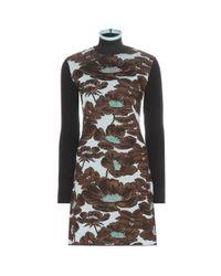 Marni - Blue Floral Wool-blend Turtleneck Dress - Lyst