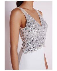 Missguided - Metallic Embellished Maxi Dress White - Lyst