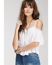 Forever 21 | White Lace-trimmed Off-the-shoulder Top | Lyst