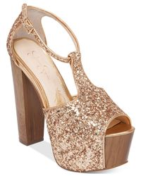 Jessica Simpson | Metallic Dany T-strap Platform Dress Sandals | Lyst