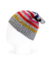 DIESEL Gray Striped Beanie for men