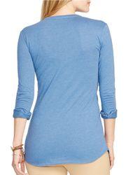 Lauren by Ralph Lauren | Blue Plus Pintucked Cotton Top | Lyst