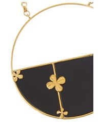 Aurelie Bidermann | Black 18kt Gold Plated Clover Pendant Necklace | Lyst