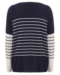 Cocoa Cashmere - Blue Striped Pocket Cashmere Jumper - Lyst