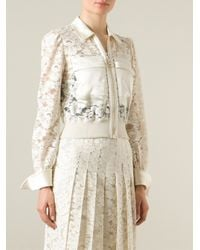 Givenchy - Natural Cropped Floral Lace Jacket - Lyst