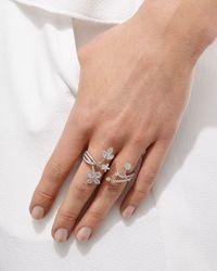 YEPREM - Multicolor Floral Diamond Double-Finger Ring - Lyst